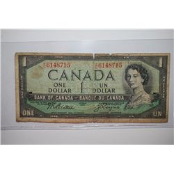 1954 Canada $1 (Un) Foreign Bank Note; EST. $3-5