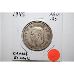 1945 Canada 50 Cents Foreign Coin; .30 ASW; EST. $10-15