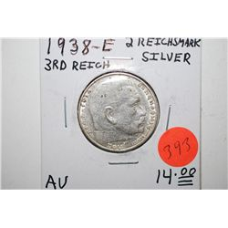 1938-E German 2 Reichsmark Foreign Coin With Flying Eagle Holding Swatstika; AU; Silver; EST. $10-15