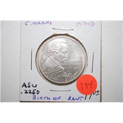 1974-D German 5 Deutsche Mark Foreign Coin; 150th Anniversary Of Birth Of Kant; .2250 ASW; EST. $10-
