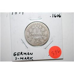 1874 German 1 Mark Foreign Coin; .1606 ASW; EST. $10-15