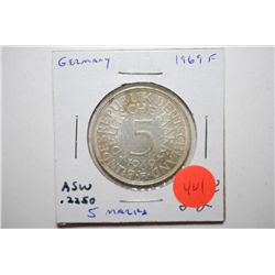 1969-F German 5 Deutsche Mark Foreign Coin; .2250 ASW; EST. $15-25