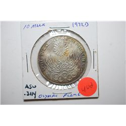 1972-D German 10 Deutsche Mark Foreign Coin; Olympic Flame; .3114 ASW; EST. $15-25