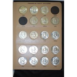 1948-1963D Ben Franklin Half Dollar Coin Folder; INCOMPLETE; Lot of 33; EST. $350-450