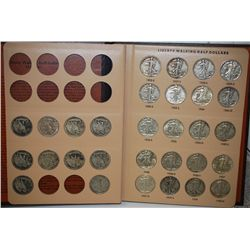 1916-1947D Walking Liberty Half Dollar Coin Folder; INCOMPLETE; Lot of 54; EST. $700-900