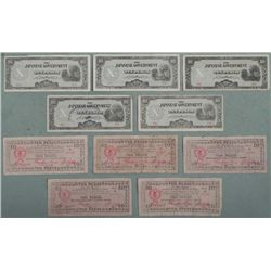 10 Pcs of Phillipine WWII Japan Currency + Emergency 10