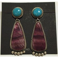 Navajo Purple Spiny Oyster & Turquoise Sterling Silver Post Earrings - Beth Joe