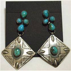 Navajo Turquoise Sterling Silver Post Earrings - Albert J. Brown