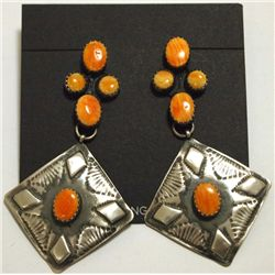 Navajo Orange Spiny Oyster Sterling Silver Post Earrings - Albert J. Brown