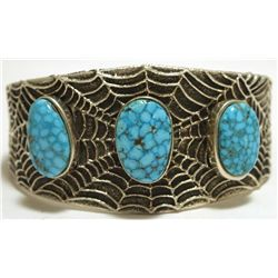 Navajo Kingman Turquoise Sterling Silver Spider Web Tufacast Cuff Bracelet - Philander B Begay