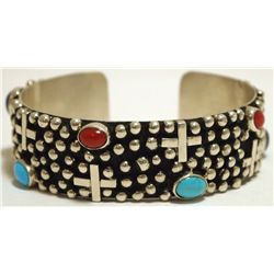 Old Pawn Navajo Multi-Stone Sterling Silver Dots & Crosses Cuff Bracelet - Silver Ray