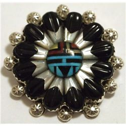 Zuni Multi-Stone Inlay Sun Face Sterling Silver Pin - Barbara Dewa