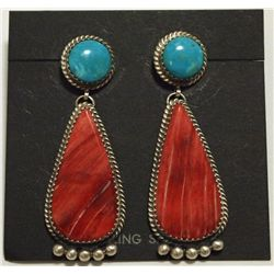 Navajo Red Spiny Oyster & Turquoise Sterling Silver Post Earrings - Beth Joe
