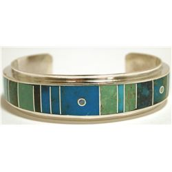 Navajo Multi-Turquoise Inlay Sterling Silver Cuff Bracelet - H. Smith