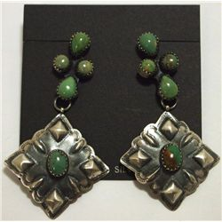 Navajo Green Turquoise Sterling Silver Post Earrings - Albert J. Brown
