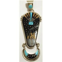 Navajo Multi-Stone Inlay Night Sky Sterling Silver Pendant - Ray Jack