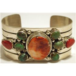 Old Pawn Navajo Green Turquoise & Spiny Oyster Sterling Silver Cuff Bracelet - Silver Ray