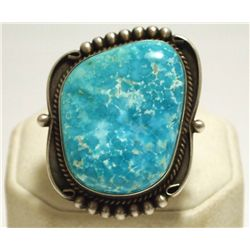 Old Pawn Navajo Turquoise Sterling Silver Women's Ring - EM Linkin