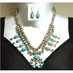 Old Pawn Navajo Turquoise Sterling Silver Squash Blossom Necklace & Earrings Set - LFK