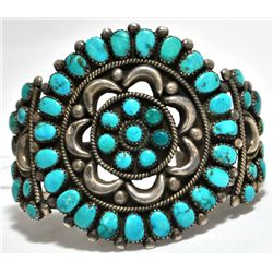 Vintage Old Pawn Turquoise Needlepoint Sterling Silver Cuff Bracelet