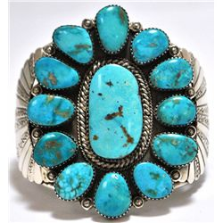 Old Pawn Rare Morenci Turquoise Sterling Silver Cuff Bracelet - M