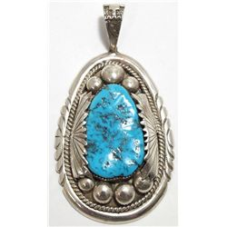 Old Pawn Zuni Sleeping Beauty Turquoise Sterling Silver Pendant - Robert & Bernice Leekya