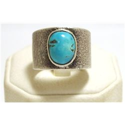 Old Pawn Navajo Turquoise Sterling Silver Sandcast Men's Ring - Lee B