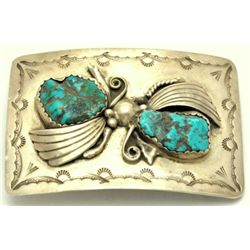 Old Pawn Navajo Turquoise Buckle - J.B.