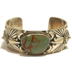 Old Pawn Navajo Green Fox Turquoise Sterling Silver Cuff Bracelet - Shakey