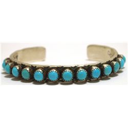 Old Pawn Navajo Turquoise Dots Sterling Silver Cuff Bracelet - Nelvin Burbank