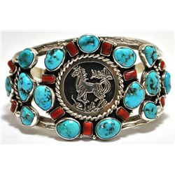 Old Pawn Coral & Turquoise Cluster Sterling Silver Horse Cuff Bracelet - R