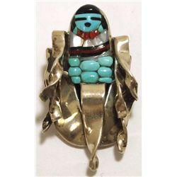 Old Pawn Zuni Multi-Stone Corn Maiden Sterling Silver Pendant