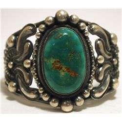 Old Pawn Navajo Green Fox Turquoise Sterling Silver Cuff Bracelet - Rick Martinez