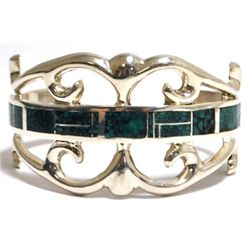 Old Pawn Spider Web Kingman Turquoise Inlay Sterling Silver Cuff Bracelet