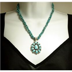 Old Pawn Navajo Turquoise 3-Strand Heishi Necklace w/Dry Creek Sterling Silver Pendant - SH