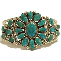 Old Pawn Navajo Turquoise Cluster Sterling Silver Cuff Bracelet - AT?