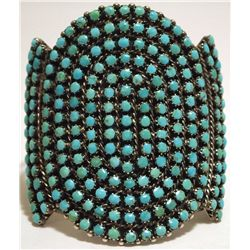Old Pawn Zuni Turquoise Dots Cluster Sterling Silver Cuff Bracelet