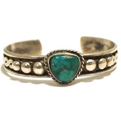 Old Pawn Navajo Turquoise Sterling Silver Cuff Bracelet - Alice Pooly