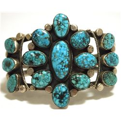 Old Pawn Navajo Spider Web Kingman Turquoise Sterling Silver Cuff Bracelet - R. Tom