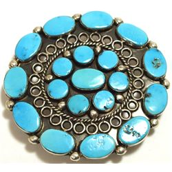 Old Pawn Navajo Sleeping Beauty Turquoise Sterling Silver Pendant/Buckle? - Charlotte Dishta