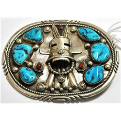 Old Pawn Coral & Turquoise Kachina Sterling Silver Buckle - TN