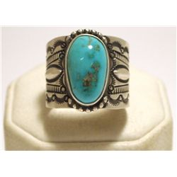 Old Pawn Navajo Turquoise Sterling Silver Men's Ring - Henry Sam