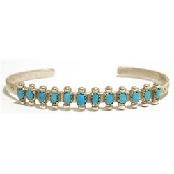Old Pawn Zuni Turquoise Sterling Silver Cuff Bracelet - D. Peina