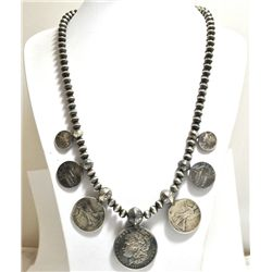 Old Pawn US Coins Sterling Silver Necklace - Paul Livingston