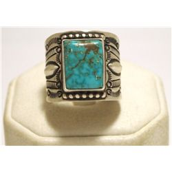 Old Pawn Navajo Royston Turquoise Sterling Silver Men's Ring - Henry Sam