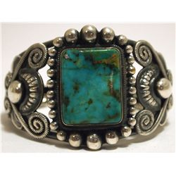 Old Pawn Navajo Royston Turquoise Sterling Silver Cuff Bracelet - Rick Martinez