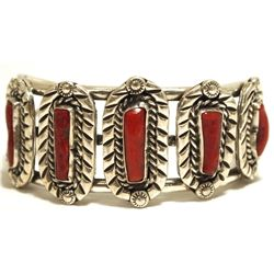 Old Pawn Navajo Coral Sterling Silver Cuff Bracelet - DC