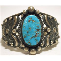 Old Pawn Navajo Pilot Mountain Turquoise Sterling Silver Cuff Bracelet - Rick Martinez