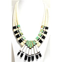 Santo Domingo Turquoise, Black Jet & Shell Heishi Necklace - Delbert & Torevia Crespin
