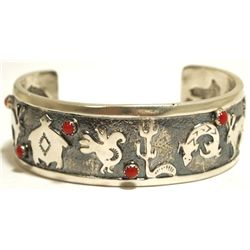 Navajo Coral Sterling Silver Animals Cuff Bracelet - Charles Johnson